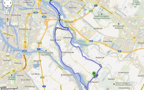 RV Altona Rennrad Training am Dienstag kurze Strecke Runde Marsch- und Vierlanden 32 Km